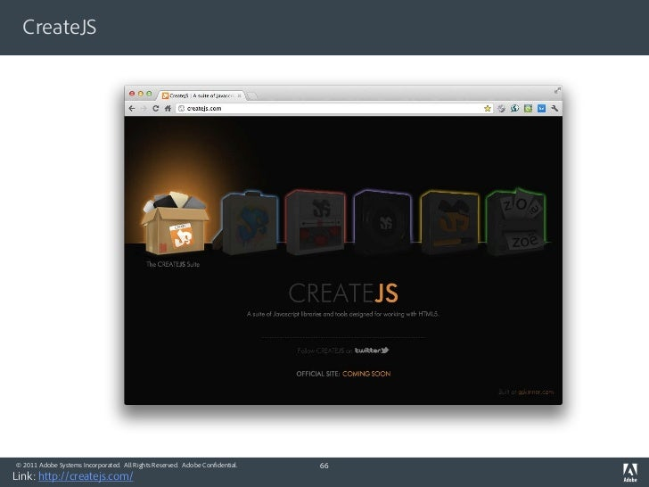 CreateJS© 2011 Adobe Systems Incorporated. All Rights Reserved. Adobe Confidential.   66Link: http://createjs.com/