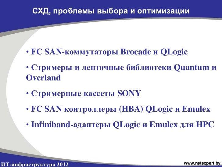 СХД, проблемы выбора и оптимизации        • FC SAN-коммутаторы Brocade и QLogic        • Стримеры и ленточные библиотеки Q...