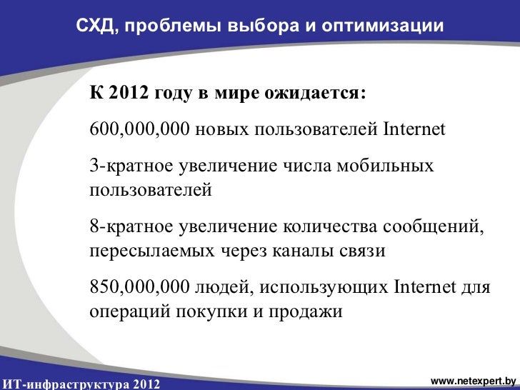СХД, проблемы выбора и оптимизации            К 2012 году в мире ожидается:            600,000,000 новых пользователей Int...
