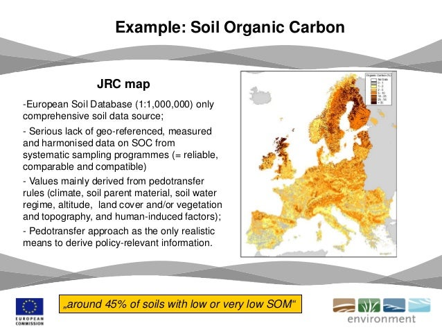 JRC map -European Soil Database (1:1,000,000) only comprehensive soil data source; - Serious lack of geo-referenced, measu...