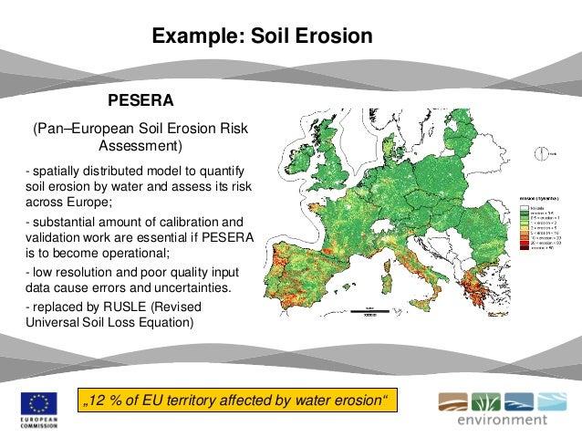 Example: Soil Erosion PESERA (Pan–European Soil Erosion Risk Assessment) - spatially distributed model to quantify soil er...