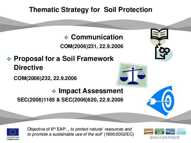  Communication COM(2006)231, 22.9.2006  Proposal for a Soil Framework Directive COM(2006)232, 22.9.2006  Impact Assessm...