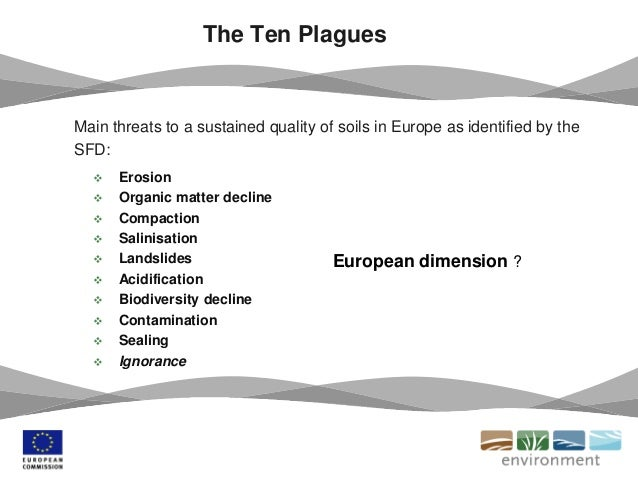 The Ten Plagues Main threats to a sustained quality of soils in Europe as identified by the SFD:  Erosion  Organic matte...