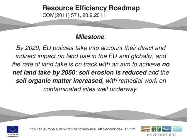 Milestone: By 2020, EU policies take into account their direct and indirect impact on land use in the EU and globally, and...
