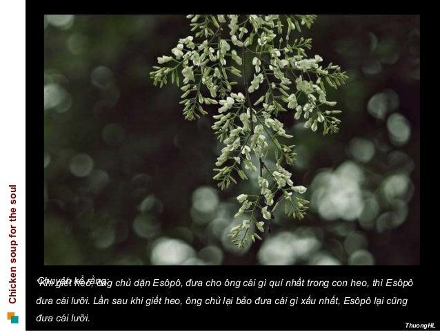 """Chickensoupforthesoul ThuongHL """"Khi giết heo, ông chủ dặn Esôpô, đưa cho ông cái gì quí nhất trong con heo, thì Esôpô đưa ..."""