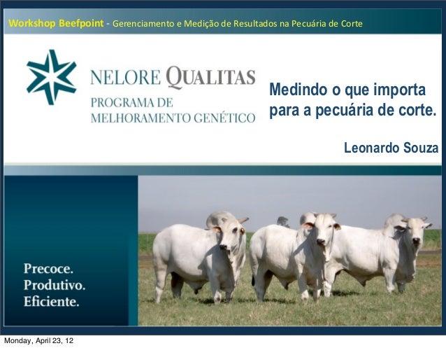 Workshop Beefpoint -‐ Gerenciamento e Medição de Resultados na Pecuária de Corte                   ...