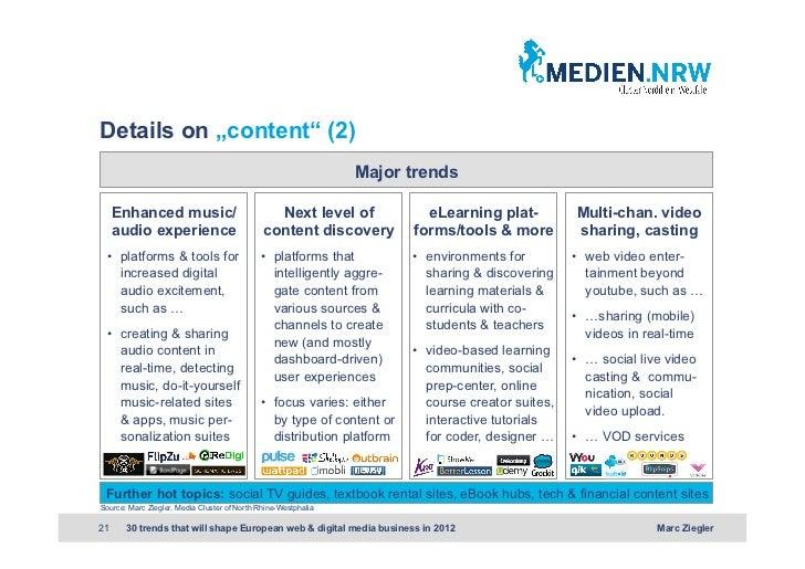 "Details on ""content"" (2)                                                                Major trends     Enhanced music/  ..."