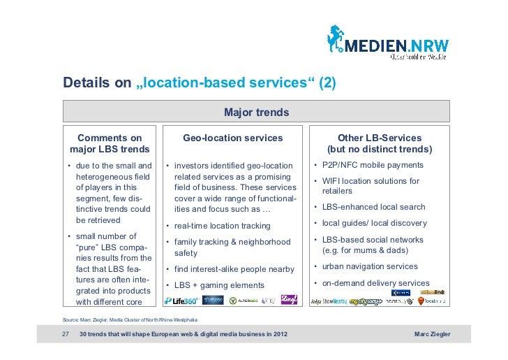 "Details on ""location-based services"" (2)                                                                Major trends      ..."