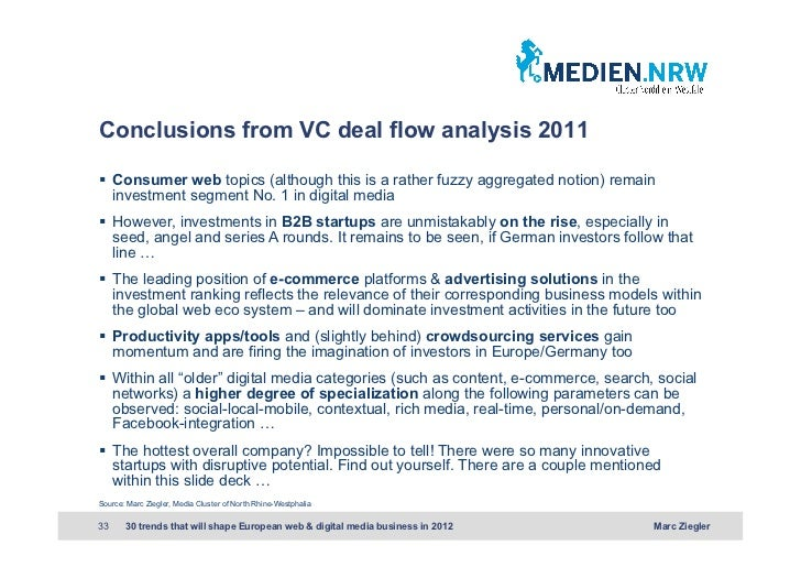Conclusions from VC deal flow analysis 2011 Consumer web topics (although this is a rather fuzzy aggregated notion) rema...