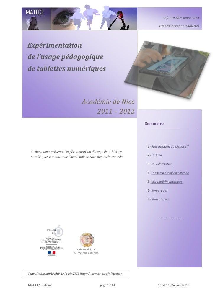 Infotice 3bis, mars 2012                                                                              Expérimentation Tabl...