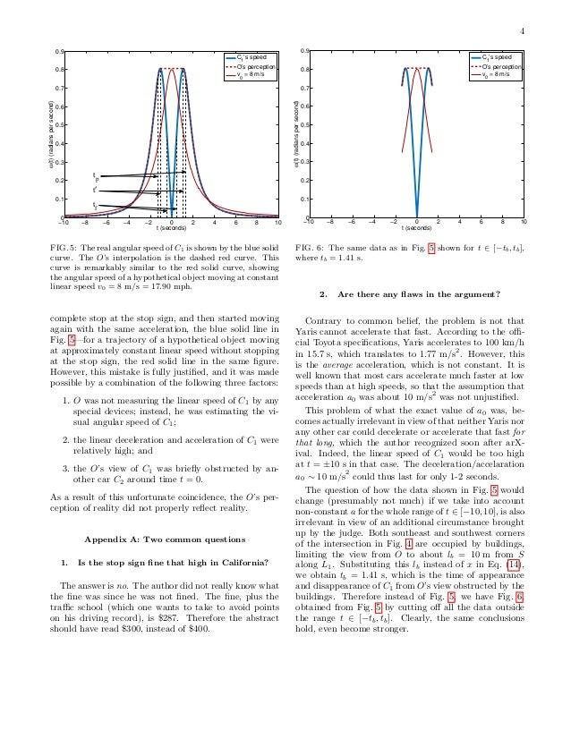4 0.9  0.9  C1's speed  C 's speed 1  O's perception v = 8 m/s  0.8  O's perception v = 8 m/s  0.8  0  0  0.7 ω(t) (radian...