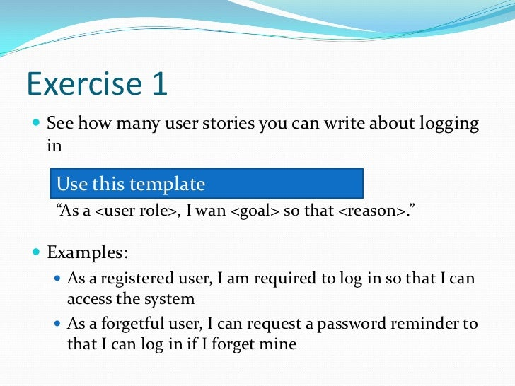 Writing user stories 04 2012 for As a user i want user story template