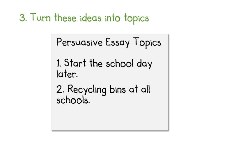 brainstorm topics for persuasive essays 10 3 turn these ideas into topics persuasive essay