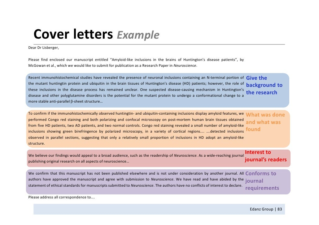 structure of a covering letters