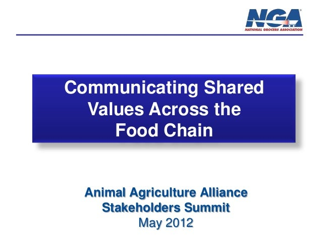 Communicating Shared Values Across the Food Chain  Animal Agriculture Alliance Stakeholders Summit May 2012