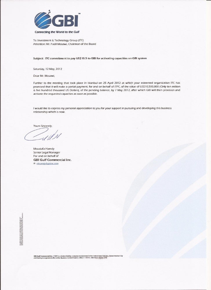 120512-GBI Letter to ITC payment and activation