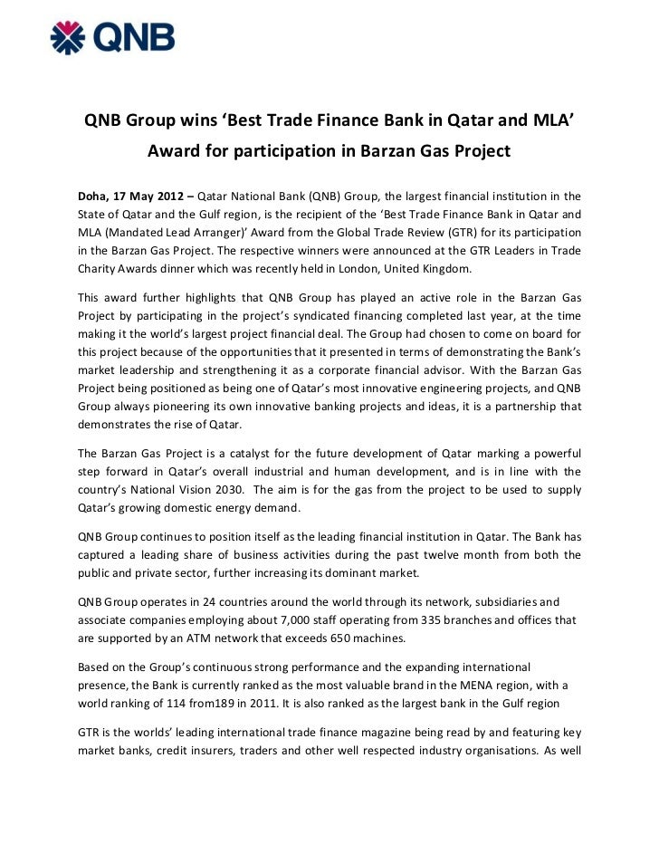 QNB Group wins 'Best Trade Finance Bank in Qatar and MLA'             Award for participation in Barzan Gas ProjectDoha, 1...