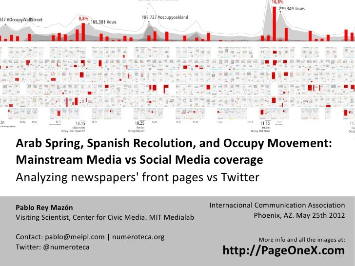Arab Spring, Spanish Recolution, and Occupy Movement:Mainstream Media vs Social Media coverageAnalyzing newspapers front p...
