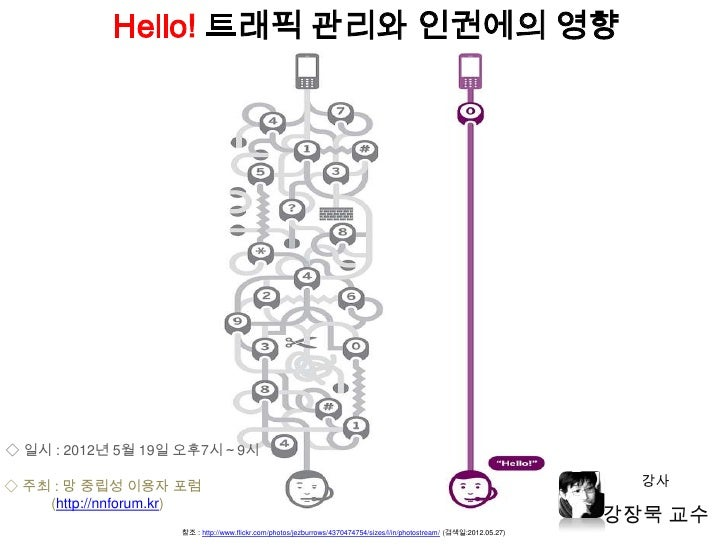 Hello! 트래픽 관리와 인권에의 영향◇ 일시 : 2012년 5월 19일 오후7시~9시◇ 주최 : 망 중립성 이용자 포럼                                                      ...