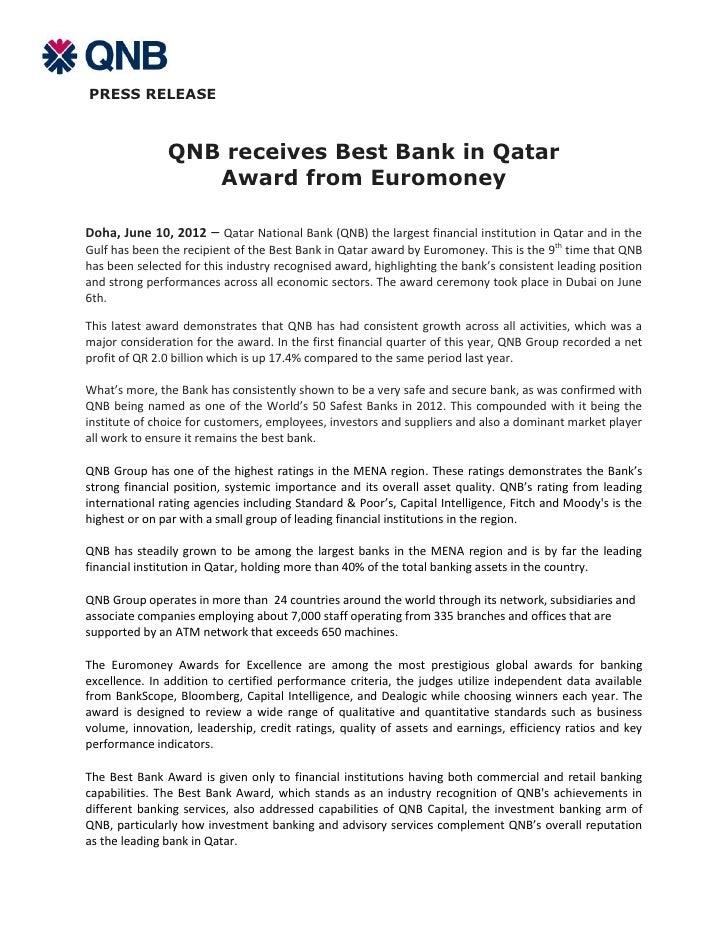 QNB receives Best Bank in Qatar Award from Euromoney