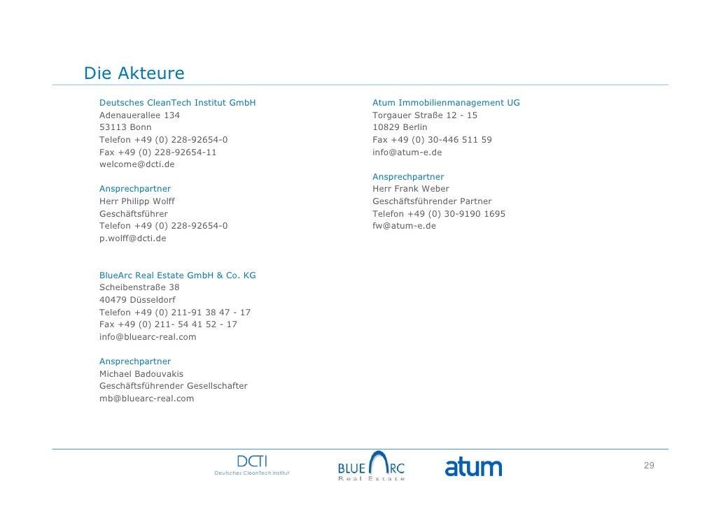 Die Akteure Deutsches CleanTech Institut GmbH                       Atum Immobilienmanagement UG Adenauerallee 134        ...