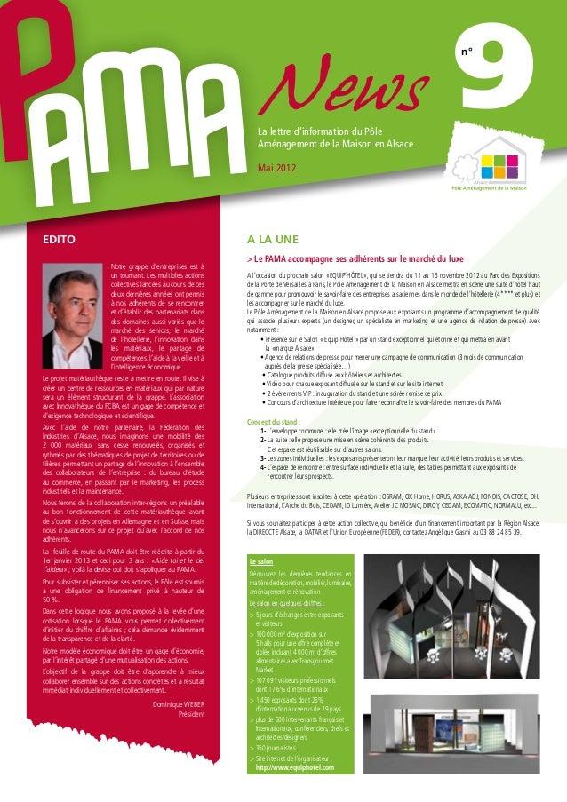 NewsLa lettre d'information du Pôle Aménagement de la Maison en Alsace Mai 2012 9n° Notre grappe d'entreprises est à un to...