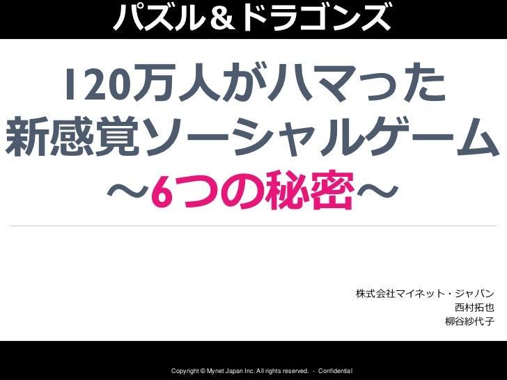 パズル&ドラゴンズ 120万人がハマった新感覚ソーシャルゲーム   ~6つの秘密~                                                                      株式会社マイネット・ジ...