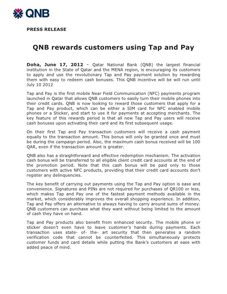PRESS RELEASE   QNB rewards customers using Tap and PayDoha, June 17, 2012 - Qatar National Bank (QNB) the largest financi...