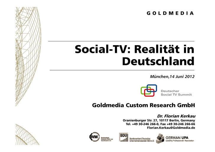 Social-TV: Realität in        Deutschland        D t hl d                            München,14                           ...