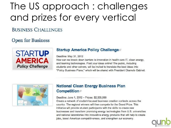 The US approach : challengesand prizes for every vertical