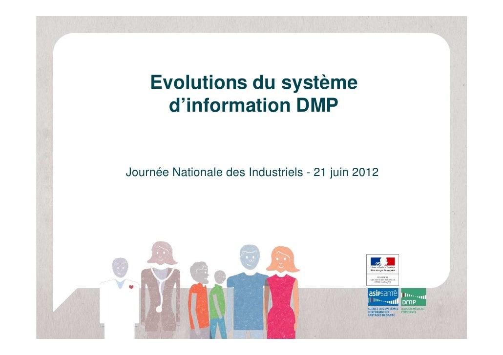 Evolutions du système      d'information DMPJournée Nationale des Industriels - 21 juin 2012
