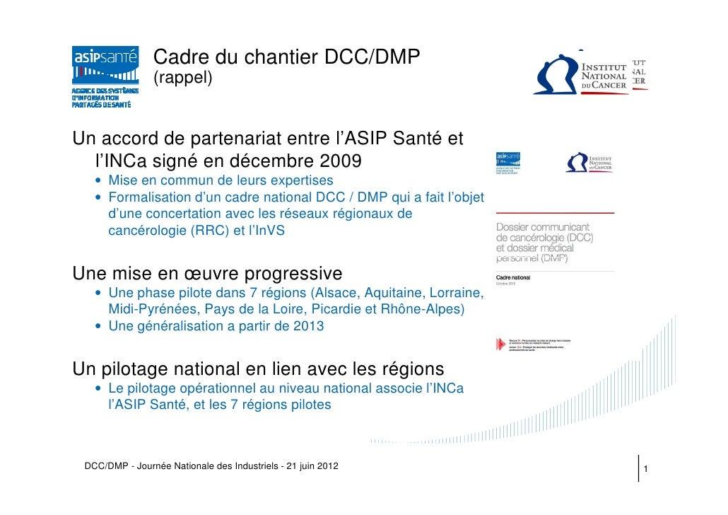 Cadre du chantier DCC/DMP                (rappel)Un accord de partenariat entre l'ASIP Santé et  l'INCa signé en décembre ...