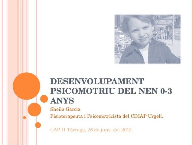 DESENVOLUPAMENTPSICOMOTRIUDELNEN03ANYSSheilaGarciaFisioterapeutaiPsicomotricistadelCDIAPUrgell.CAPIITàrrega,...