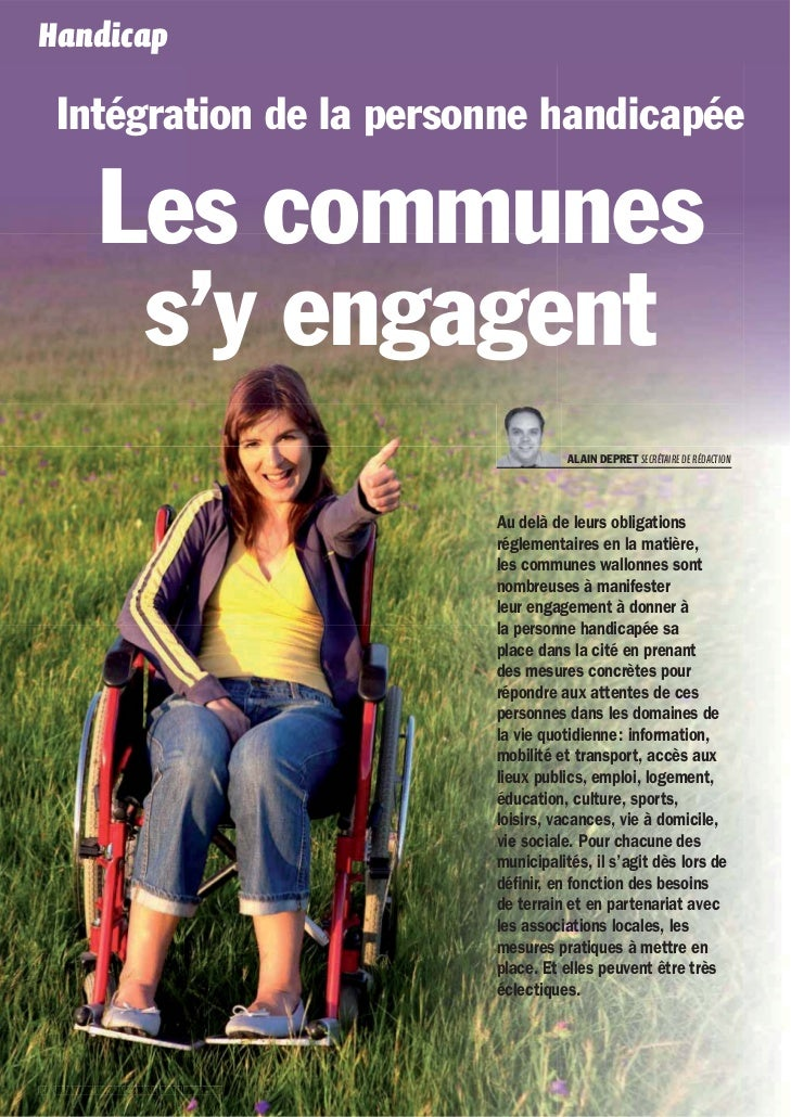 Handicap   Intégration de la personne handicapée           Les communes            s'y engagent                           ...