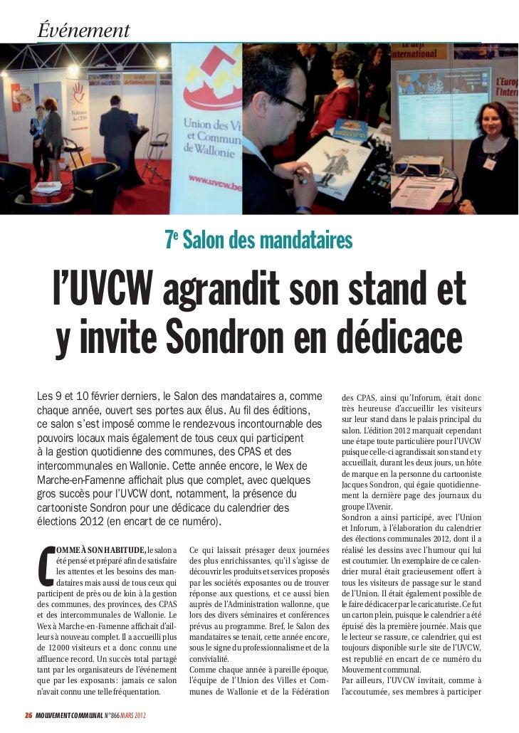 Événement                                            7e Salon des mandataires        l'UVCW agrandit son stand et        y...