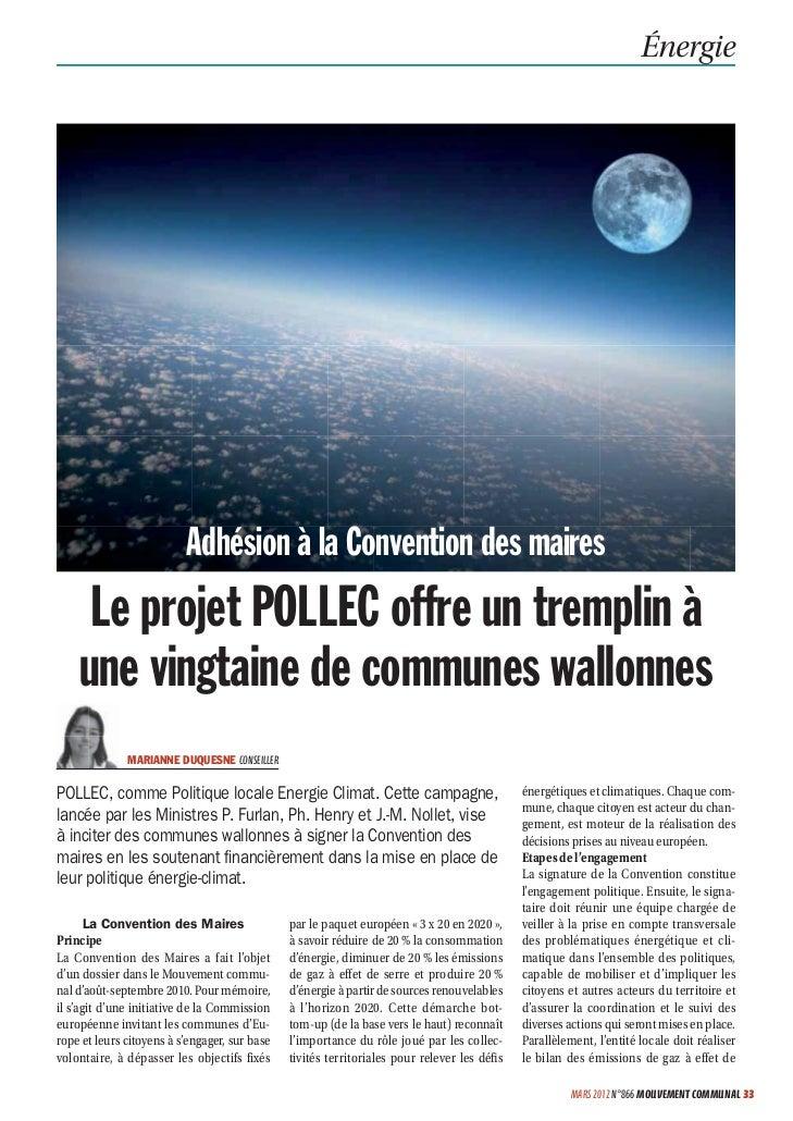 Énergie                          Adhésion à la Convention des maires     Le projet POLLEC offre un tremplin à    une vingt...