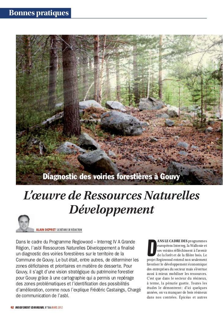 Bonnes pratiques                       Diagnostic des voiries forestières à Gouvy        L'œuvre de Ressources Naturelles ...