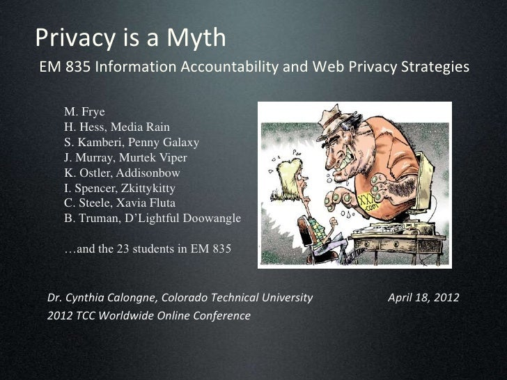 Privacy is a MythEM 835 Information Accountability and Web Privacy Strategies    M. Frye    H. Hess, Media Rain    S. Kamb...