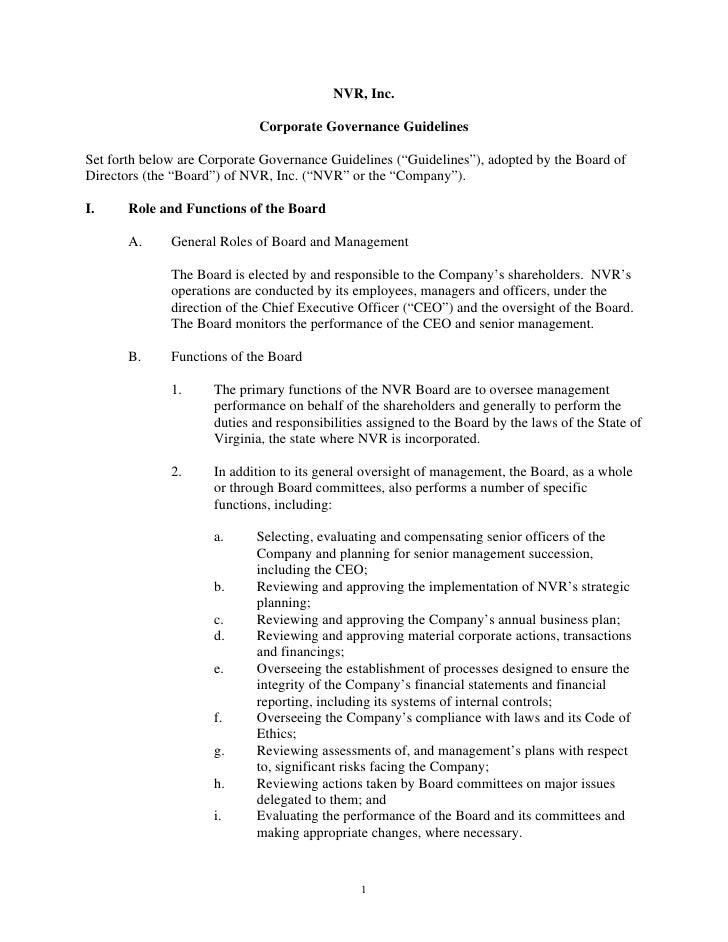 NVR, Inc.                               Corporate Governance Guidelines  Set forth below are Corporate Governance Guidelin...