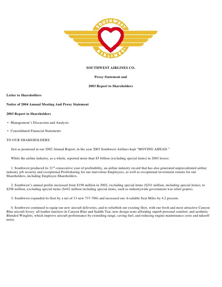 SOUTHWEST AIRLINES CO.                                                                Proxy Statement and                 ...