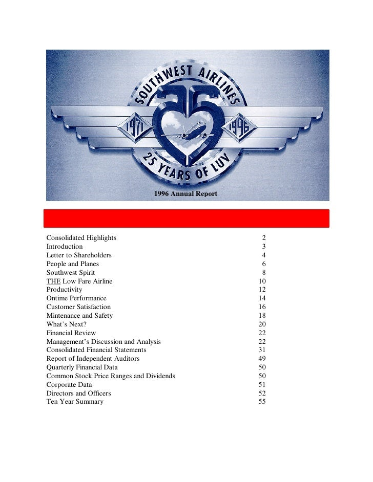 1996 Annual Report   TABLE OF CONTENTS  Consolidated Highlights                               2 Introduction              ...