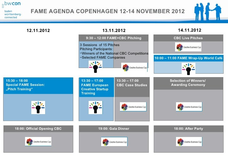 FAME AGENDA COPENHAGEN 12-14 NOVEMBER 2012           12.11.2012                          13.11.2012                       ...
