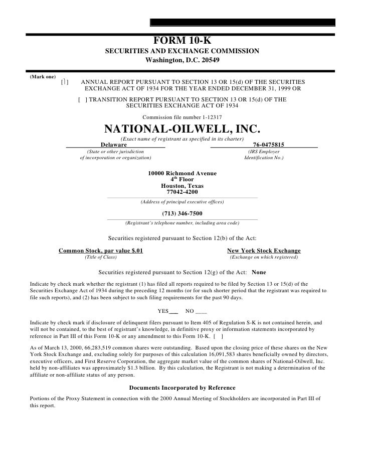 national oilwell varco 1999 Form 10-K
