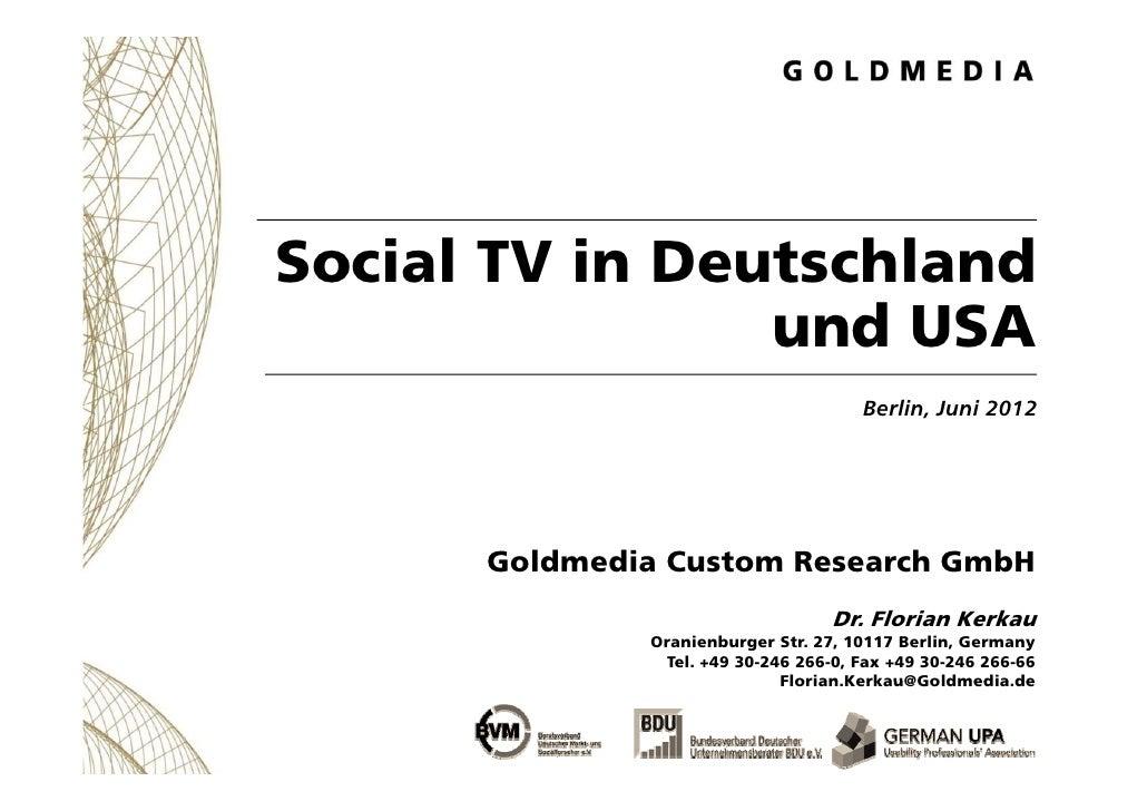 Social TV in Deutschland                und USA                   d                                      Berlin,          ...