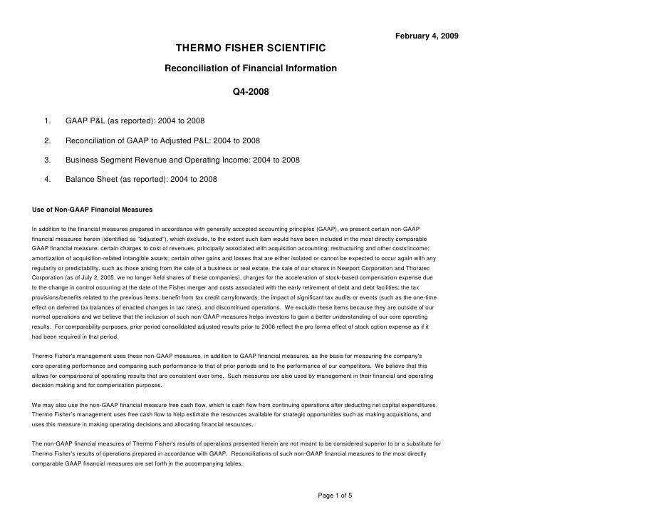 February 4, 2009                                                         THERMO FISHER SCIENTIFIC                         ...