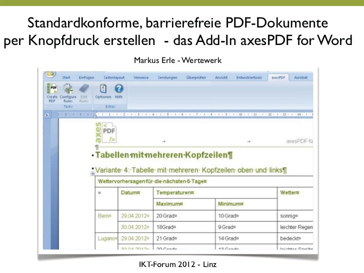 Standardkonforme, barrierefreie PDF-Dokumenteper Knopfdruck erstellen - das Add-In axesPDF for Word                    Mar...