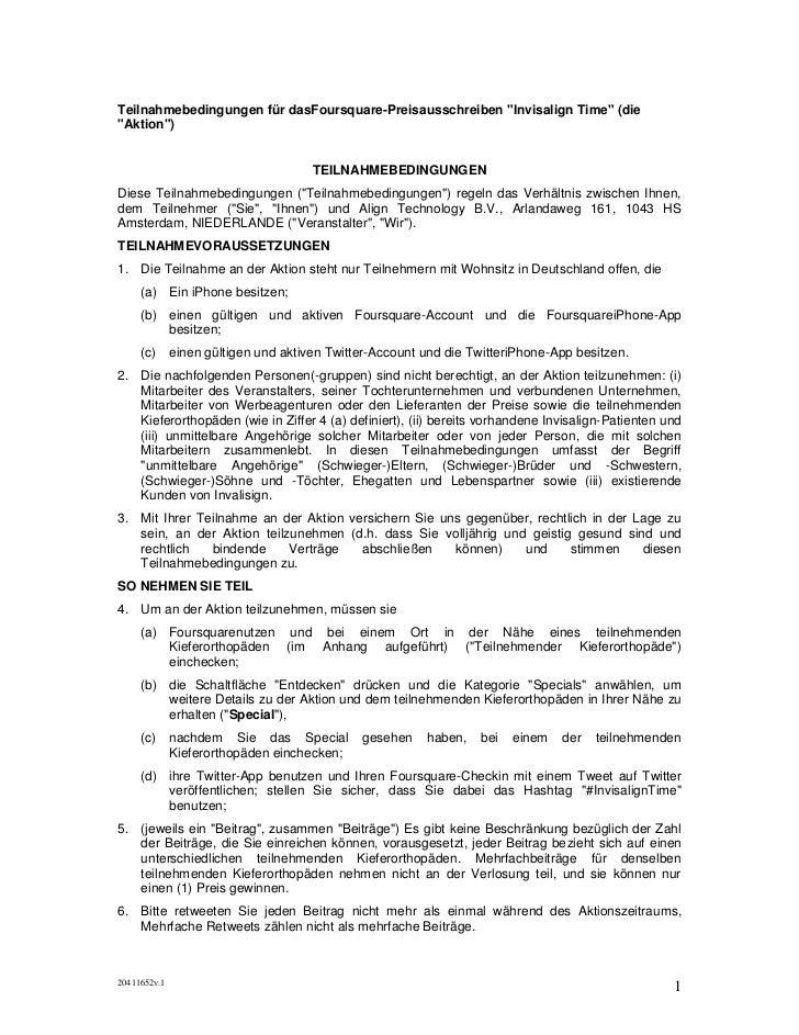 """Teilnahmebedingungen für dasFoursquare-Preisausschreiben """"Invisalign Time"""" (die""""Aktion"""")                                  ..."""