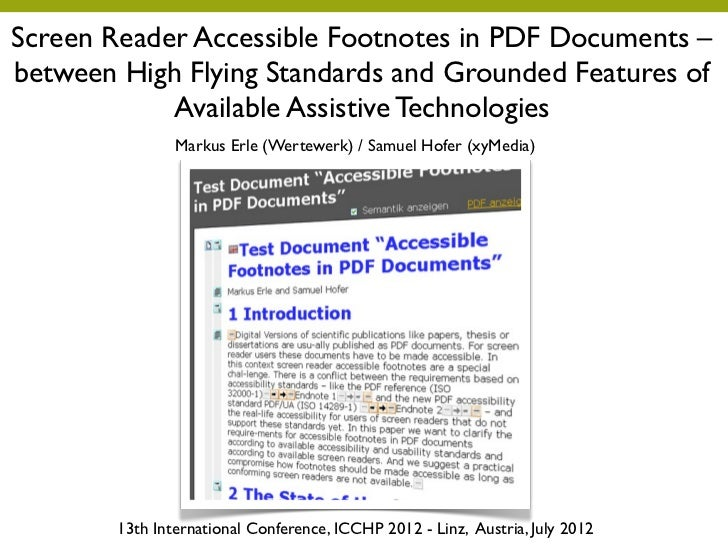 Screen Reader Accessible Footnotes in PDF Documents –between High Flying Standards and Grounded Features of            Ava...