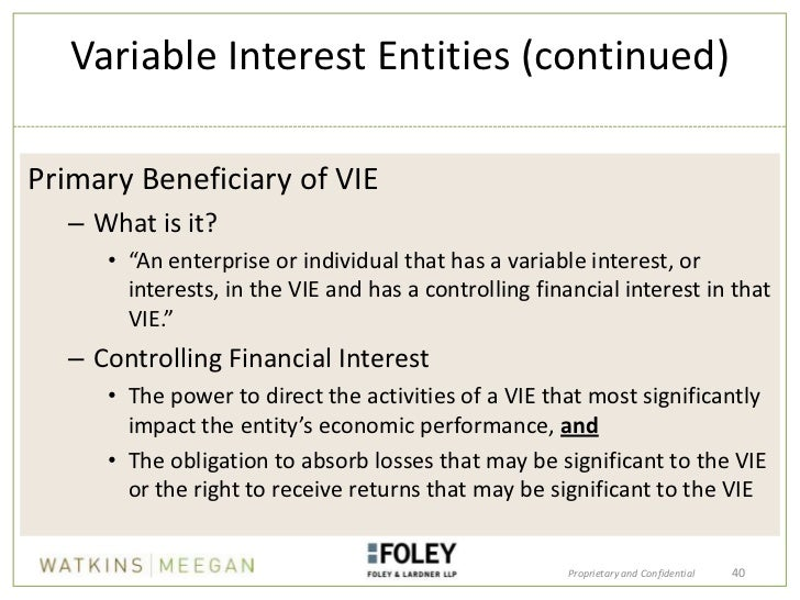 variable interest entities Many banks and financial services entities have investments or other interests in variable interest entities (vies) determining when a bank or other financial services entities should consolidate another legal entity that is a vie can be complex.