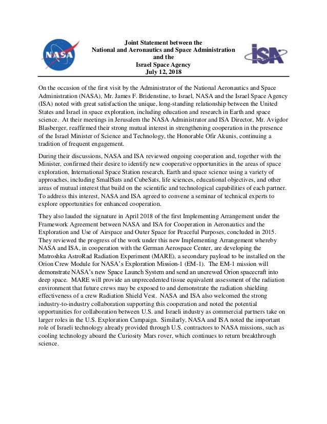 Joint Statement between the National and Aeronautics and Space Administration and the Israel Space Agency July 12, 2018 On...